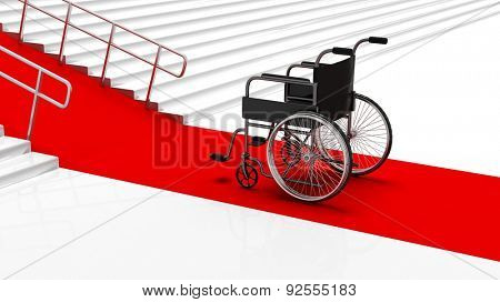 Black disability wheelchair in front white stairs with red carpet