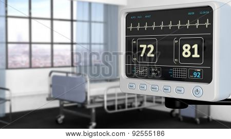 Patient monitor device closeup in hospital room with depth of field