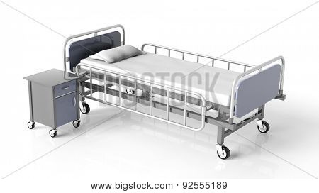 Hospital bed and bedside table, isolated on white background