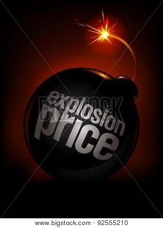 Explosion price, sale background with bomb, rasterized version.