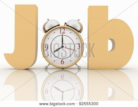 Alarm clock in the word job. 3d illustration on white background