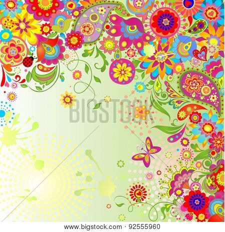Summery card with paisley and colorful flowers