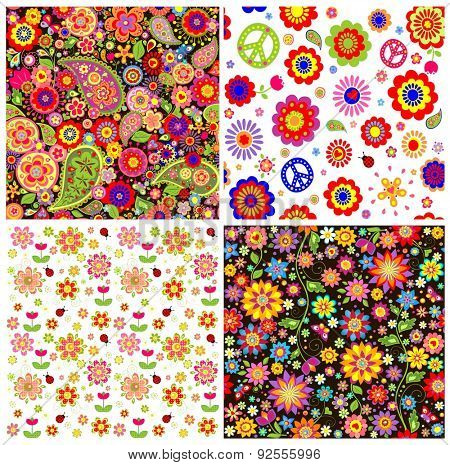 Colorful wallpapers with funny abstract flowers and paisley