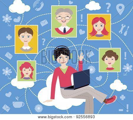 social network (vector illustration, flat concept)