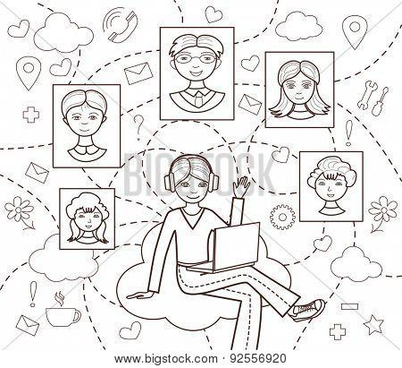 social network (vector illustration, coloring book)