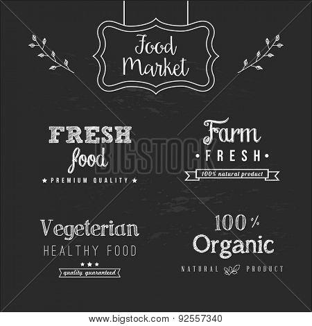 Set of food design elements on the chalkboard background