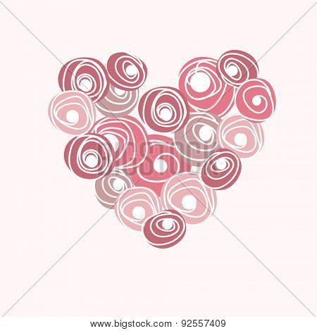 Wedding card with vector heart from roses. Cartoon floral rose heart.