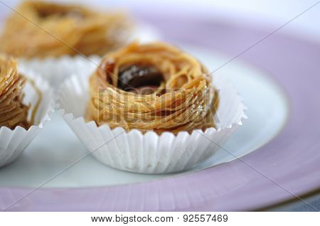 Bird's nest - a mediterranean sweet presented in a paper cups.