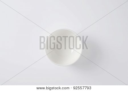 overhead view of pure white empty bowl