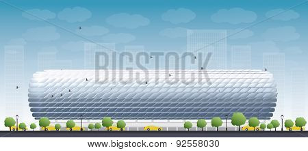 Football Stadium and blue sky. Front view. Vector illustration
