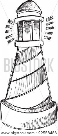 Doodle Sketch Light House Vector Illustration Art