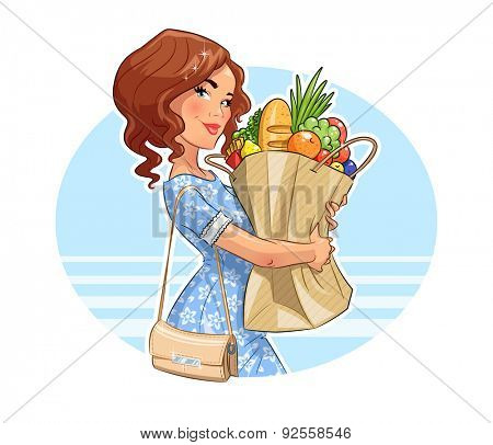 Beautiful girl with package of products. Shopping. Vector illustration. Isolated on white background