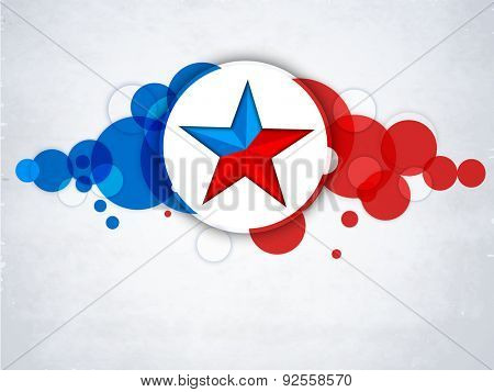 4th of July, American Independence Day celebration sticker, tag or label with star on national flag color abstract background.