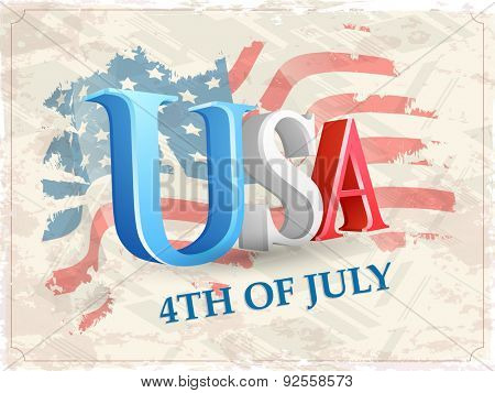 Glossy 3D text USA on national flag color vintage background for 4th of July, American Independence Day celebration.