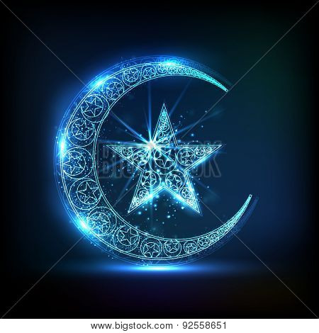 Creative Glossy Crescent Moon With Star In Blue Color For Muslim Community Festival Eid Celebration Poster Id 92558651