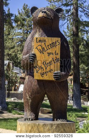 Big Bear Lake, CA June 1st,2015   Welcome Sign to the town of Big Bear Lake, California,USA,the reservoir in the San Bernardino Mountains has  a surface elevation of 6,750 ft.