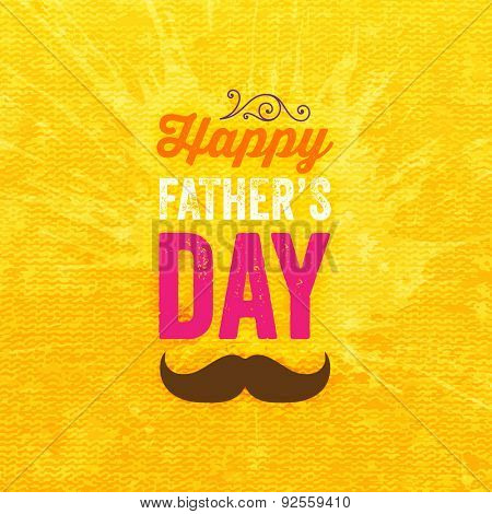 Happy Father's Day Card with Orange Canvas Texture Background with Pattern. Retro Style Design
