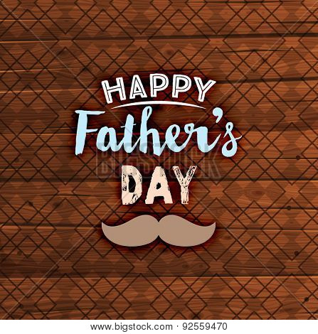 Happy Father's Day Card with Wood Background with Pattern. Retro Style Design