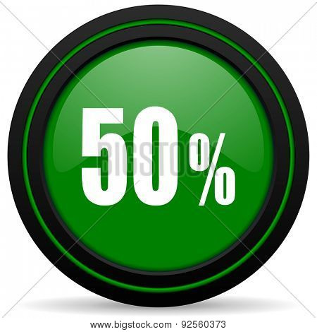 50 percent green icon sale sign