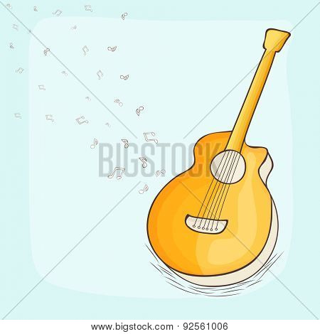 Music concept with guitar and musical notes on stylish background.