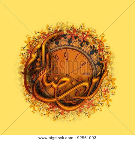 Arabic Islamic calligraphy of text Ramadan Kareem in crescent moon shape on beautiful flowers decorated clock showing prayers time, for Muslim community festival celebration.