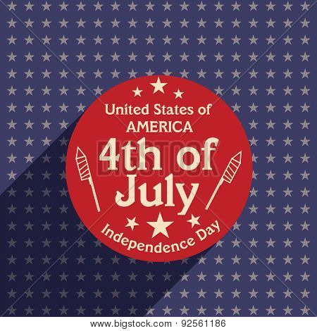 Stylish sticky design on stars decorated background for 4th of July, American Independence Day celebration.