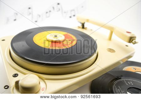 Composition With Vintage Record Player And Records