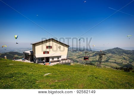 WASSERAUEN, SWITZERLAND - June 4, 2015: Summit station of the Ebenalp cableway in Switzerland, a very popular starting point for paragliders at 5,400 feet above sea level.