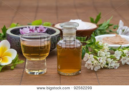 Essential Oil, Flower Float On Water, Salt Bowel And Mask For Health Spa