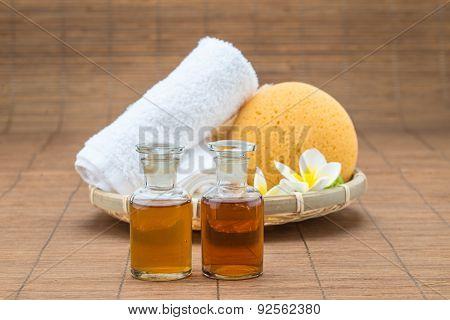 Spa Bath, Salt, Towel Sponge Essential Oil And Flower For Spa Health