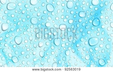 Light Blue Background Of Water Drops