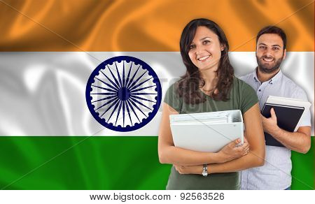 Couple Of Students Over Indian Flag