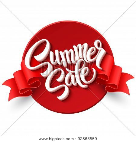 Summer sale. Ribbon label. Vector illustration