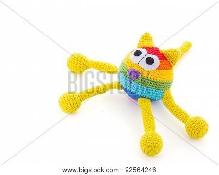 Handmade Colore Cat Dol Isolated On White Background