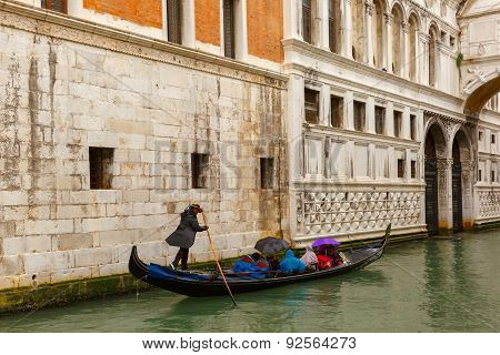 Venice gondola in rainy weather, Italy