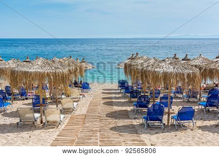 Umbrellas At Mega Ammos Beach,syvota,greecce