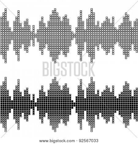 vector black square sound wave patterns