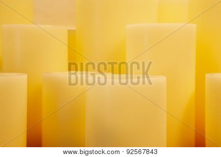 Yellow Candles Cylinders With Different Sizes