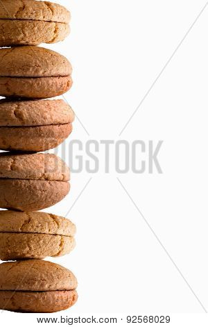 Food Border Of Stacked Fresh Macaroons