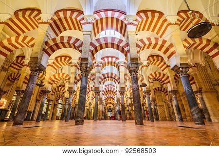CORDOBA, SPAIN - November 10, 2014: Hypostyle Hall in the Mosque-Cathedral of Cordoba. The structure is regarded as one of the most accomplished monuments of Moorish architecture.