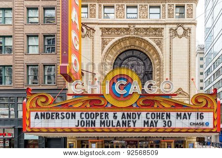 CHICAGO, ILLINOIS/ USA - CIRCA MAY 2015: The famous Chicago Theatre, Illinois, USA.