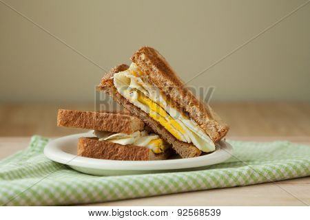 Fried Egg Sandwich On Whole Grain Toast