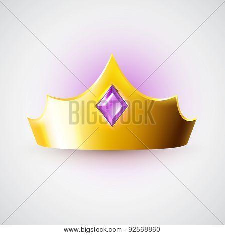 Golden Crown With Purple Gem