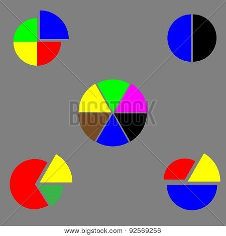 Set Of Pie Chart Color Flat