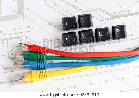 It Help Desk Assistance Network Cables Circuit Board Background