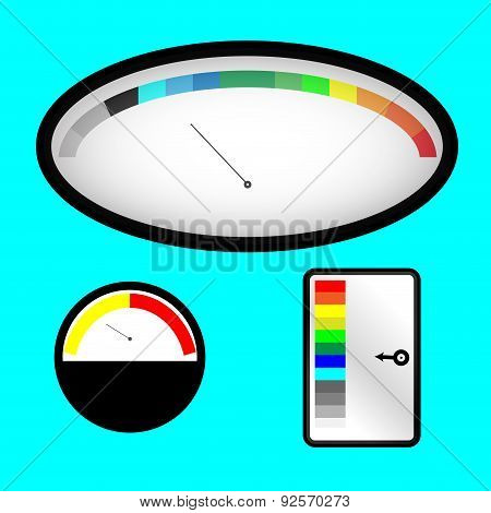 Set Of Indicators With Colored Spectral Indicator