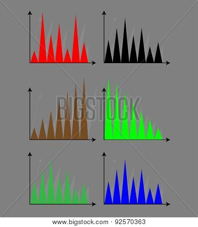 Set Of  Triangle Diagram Color Flat