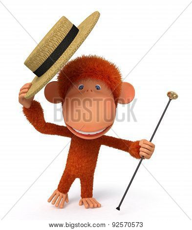 3D Monkey Dances A Step