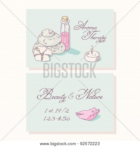 Aromatherapy hand drawn business cards template for spa salon in vector