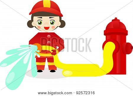 Little firefighter girl